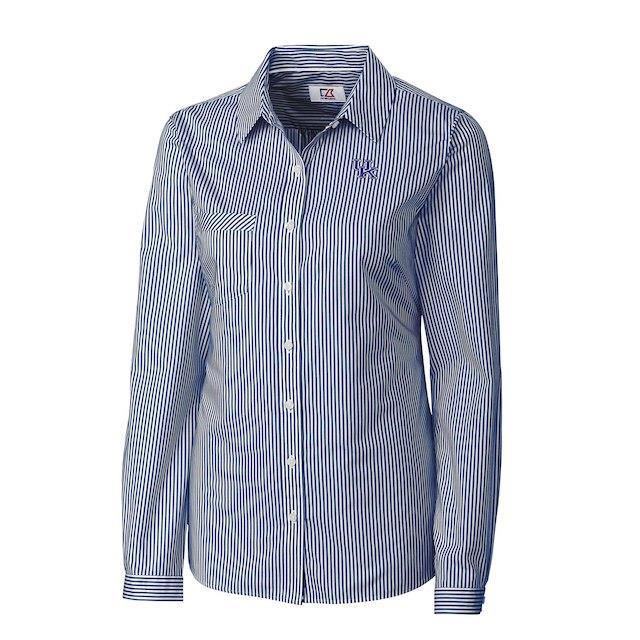 Cutter & Buck Kentucky Wildcats Women's Light Blue Mini Bengal Stripe Button-Up Shirt ユニセックス