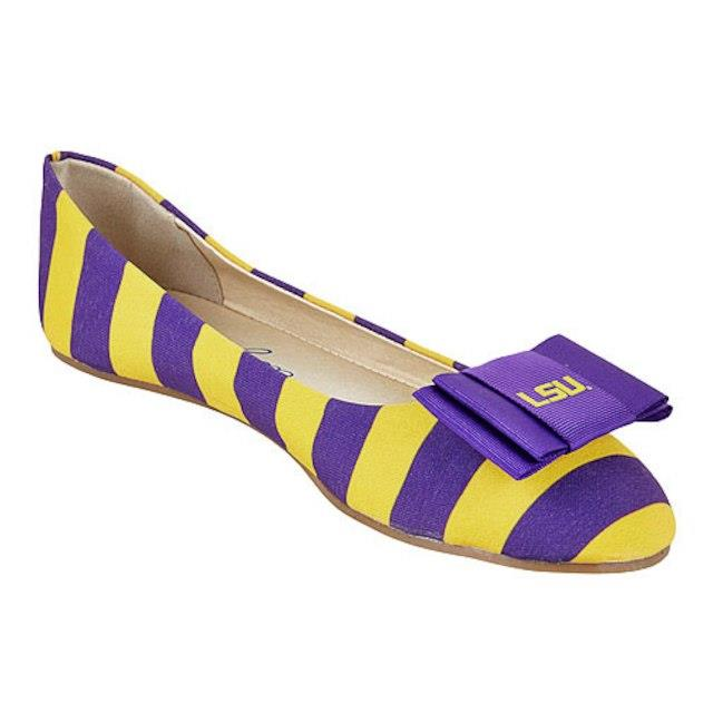 LillyBee U LSU Tigers Womens Removable Bow Flats ユニセックス