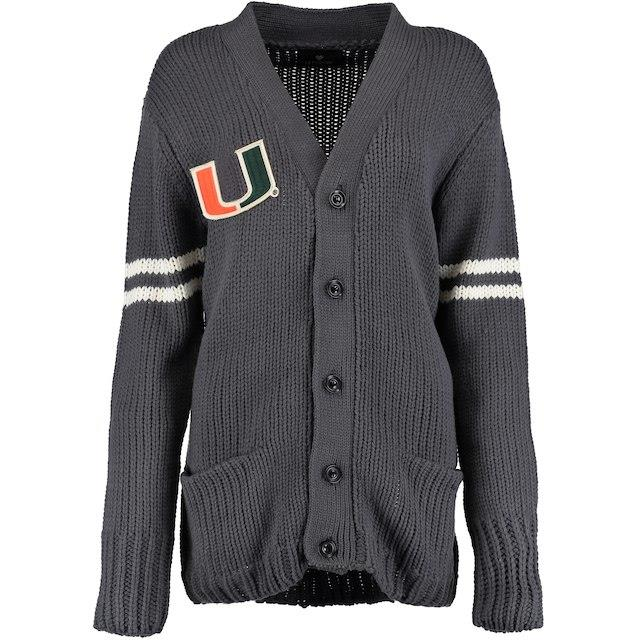 Let Loose by RNL Miami Hurricanes Women's Charcoal Boyfriend Letter Sweater ユニセックス