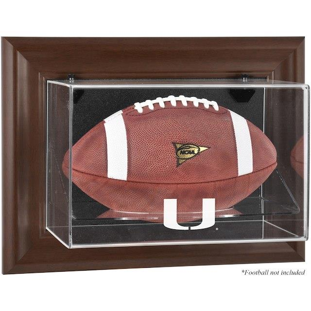 Fanatics Authentic Miami Hurricanes Brown Framed Wall-Mountable Football Display Case ユニセックス