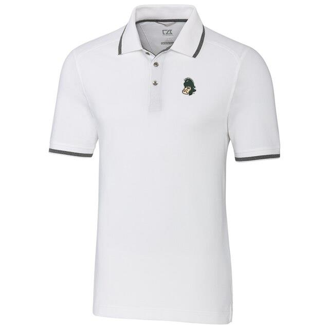 Cutter & Buck Michigan State Spartans White Big & Tall College Vault Advantage Tipped DryTec Tri-Blend Polo メンズ