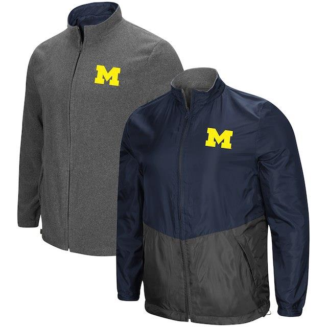 Colosseum Michigan Wolverines Navy Halfback Option Reversible Full-Zip Jacket メンズ