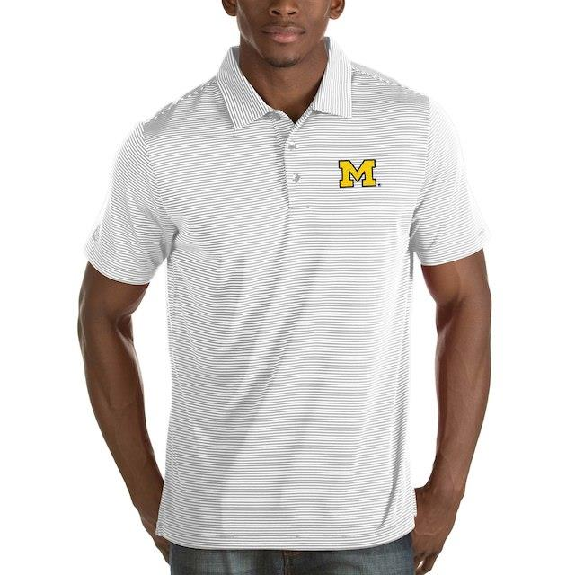 アンティグア Antigua Michigan Wolverines White Quest Desert Dry Big & Tall Polo メンズ