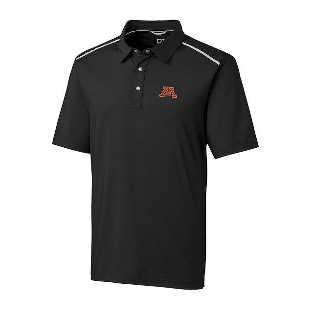 Cutter & Buck Minnesota Golden Gophers Black DryTec Fusion Polo メンズ