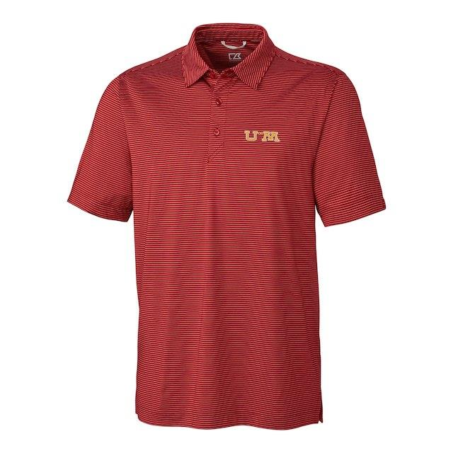 Cutter & Buck Minnesota Golden Gophers Cardinal DryTec Prevail Vault Logo Stripe Polo メンズ