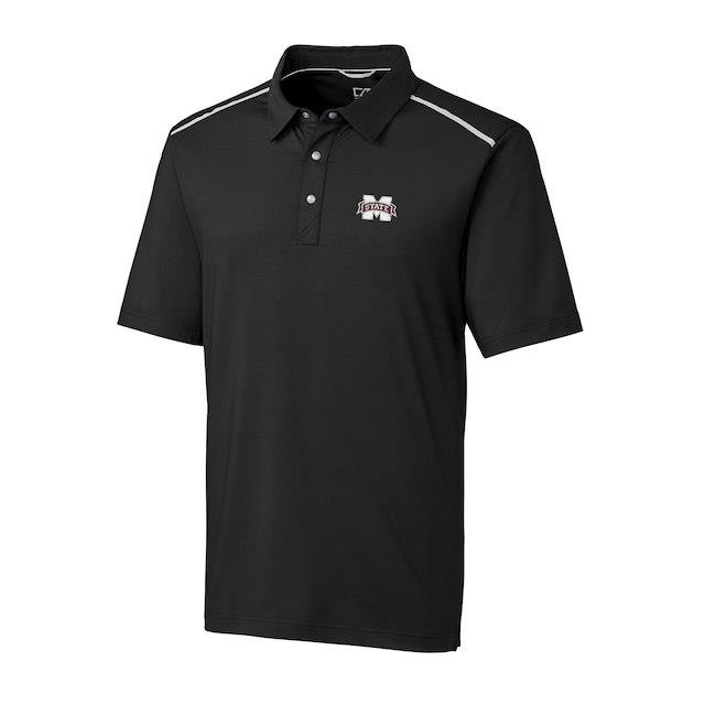 Cutter & Buck Mississippi State Bulldogs Black DryTec Fusion Polo メンズ