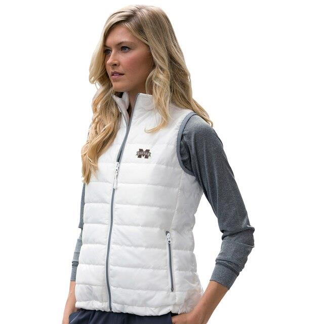 Mississippi State Bulldogs Women's White Apex Compressible Quilted Vest ユニセックス