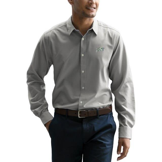 Navy Midshipmen Gray Sandhill Long Sleeve Dress Shirt メンズ