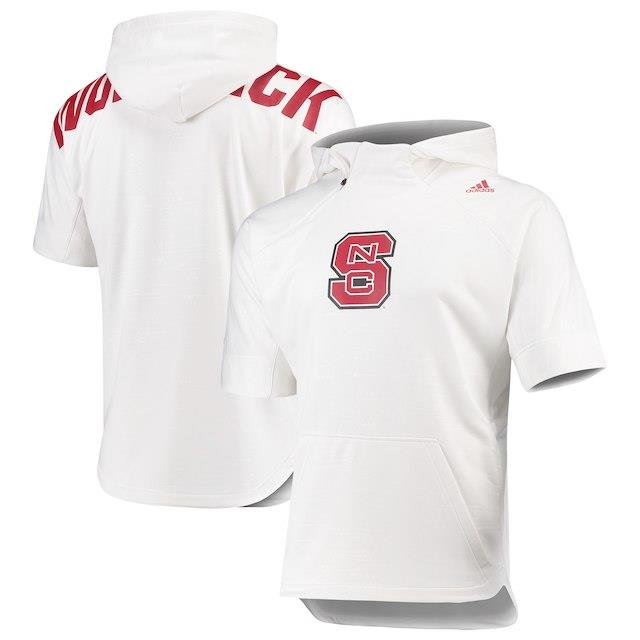 アディダス adidas NC State Wolfpack White Basketball Hooded 1/4-Zip Warm-Up Top メンズ