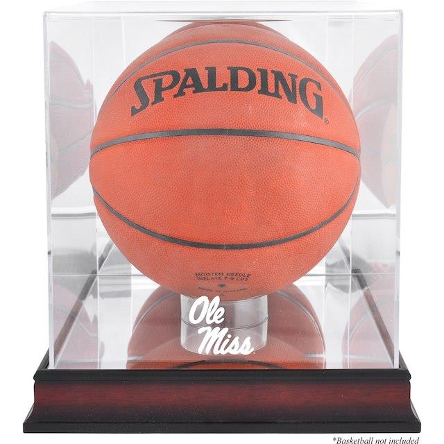 Fanatics Authentic Ole Miss Rebels Mahogany Antique Finish Logo Basketball Display Case with Mirror Back ユニセックス