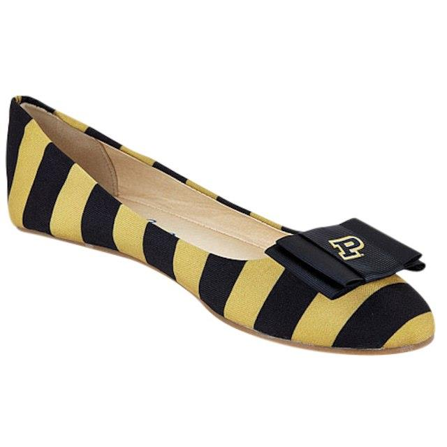 LillyBee U Purdue Boilermakers Womens Removable Bow Flats ユニセックス