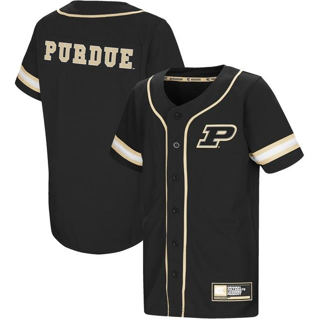 Colosseum Purdue Boilermakers Youth Black Play Ball Baseball Jersey キッズ