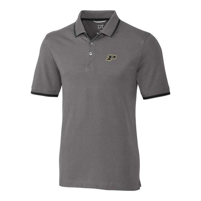 Cutter & Buck Purdue Boilermakers Gray Big & Tall Advantage Tipped Polo メンズ