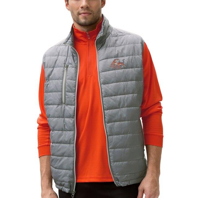 Savannah State Tigers Gray Apex Compressible Quilted Vest メンズ