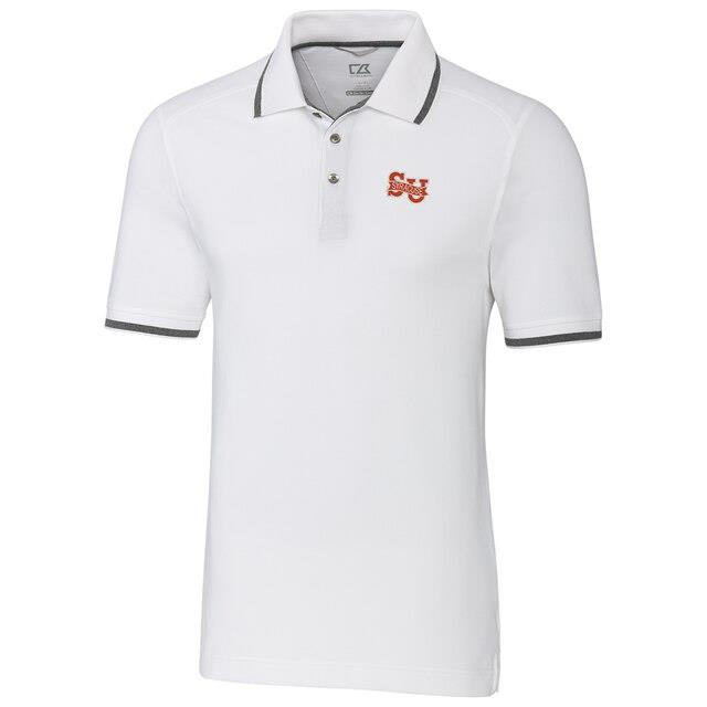 Cutter & Buck Syracuse Orange White Big & Tall College Vault Advantage Tipped DryTec Tri-Blend Polo メンズ