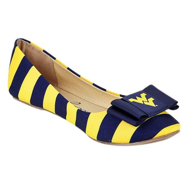 LillyBee U West Virginia Mountaineers Womens Removable Bow Flats ユニセックス