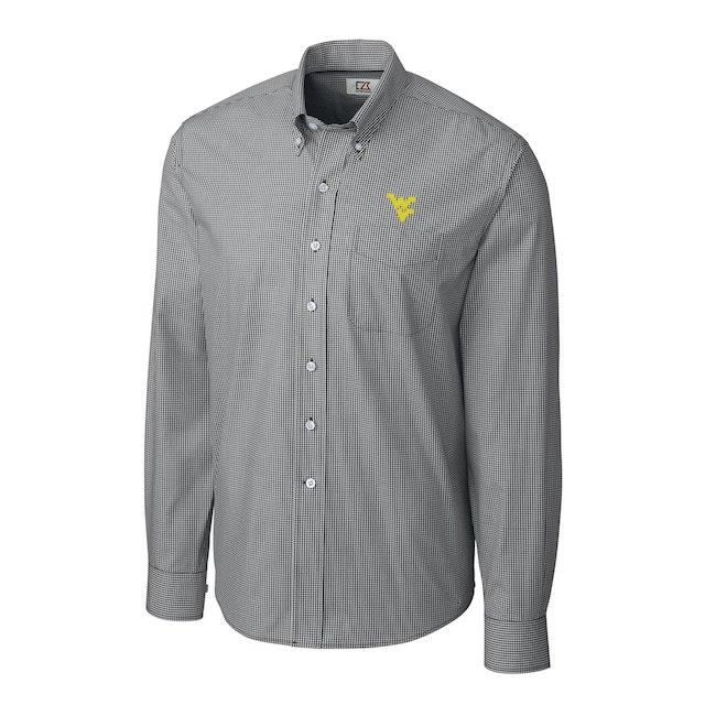 Cutter & Buck West Virginia Mountaineers Charcoal Gingham Button-Down Long Sleeve Shirt メンズ