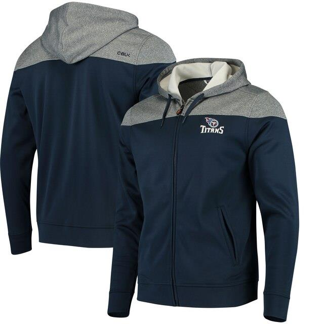 CBUK by Cutter & Buck Tennessee Titans Navy Pop Fly Full-Zip Hoodie メンズ