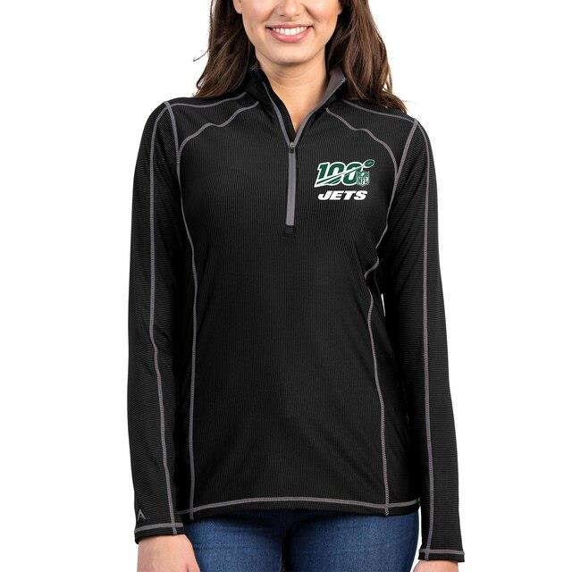 アンティグア Antigua New York Jets Women's Heather Black/Gray NFL 100 Tempo Half-Zip Pullover Jacket ユニセックス