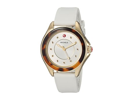 ミシェル レディース 腕時計 The Cape Gold-Plated Stainless Steel White Silicone Strap