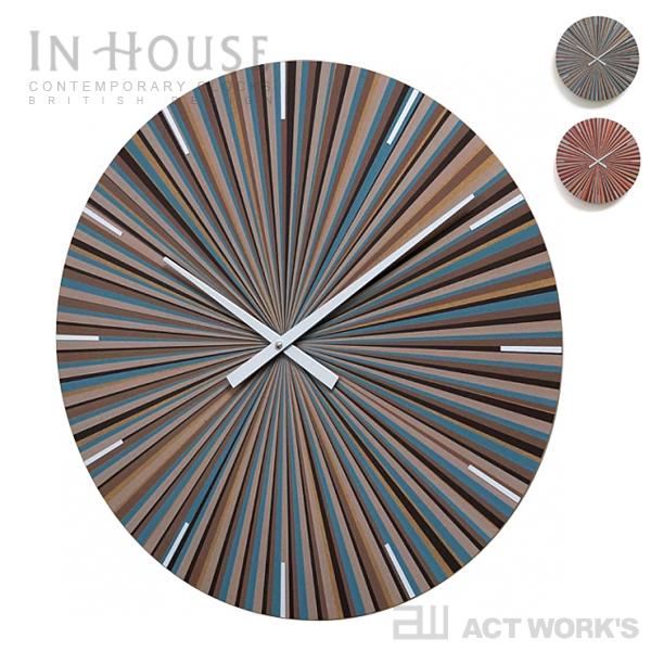 《全2色》IN HOUSE MULTI-STRIPE ウォールクロック W11 【インハウス 壁掛け時計 ウォールクロック 英国 イングランド INHOUSE シルクスクリーンプリント】