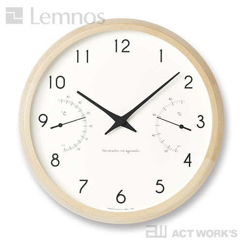 《全2色》LEMNOS Campagne air カンパーニュ エール 温湿度計付き掛け時計 【タカタレムノス デザイン雑貨 掛け時計 クロック シンプル インテリア 壁時計 リビング 温度計 湿度計 玄関 子供部屋 寝室 北欧】