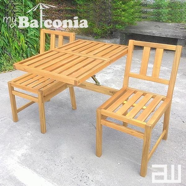 my Balconia SEATTLE Bench2 シアトルベンチ2 【gusto社 木製ベンチ サイドテーブル デザイン雑貨 ガーデニング バルコニー テラス オープンカフェ 店舗 北欧 ドイツ】