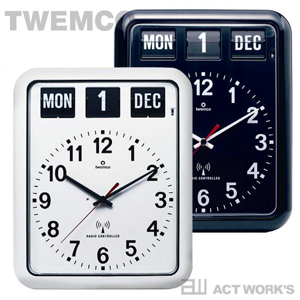 《全2色》TWEMCO 電波式カレンダー時計 RC-12A 電波掛け時計 【トゥエンコ トゥエムコ デザイン雑貨 掛時計 かけ時計 とけい 壁掛け パタパタ アナログ 表示 電波時計 オフィス 店舗 北欧】