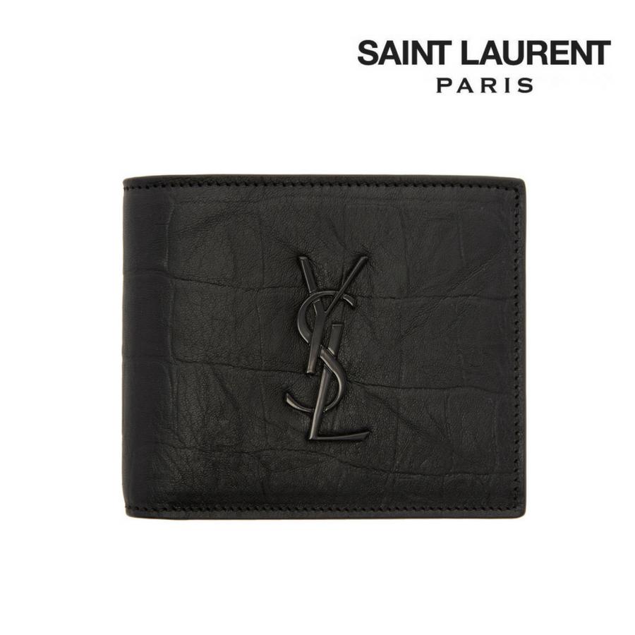 Saint Laurent サンローラン モノグラム クロコ型押し ロゴ入り イースト/ウェスト ウォレット 二つ折り財布