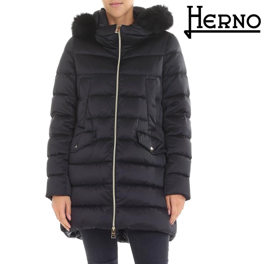 HERNO ヘルノ ロングファーダウンジャケット PI0817D-12198-9300 レディース ダウン ブラック