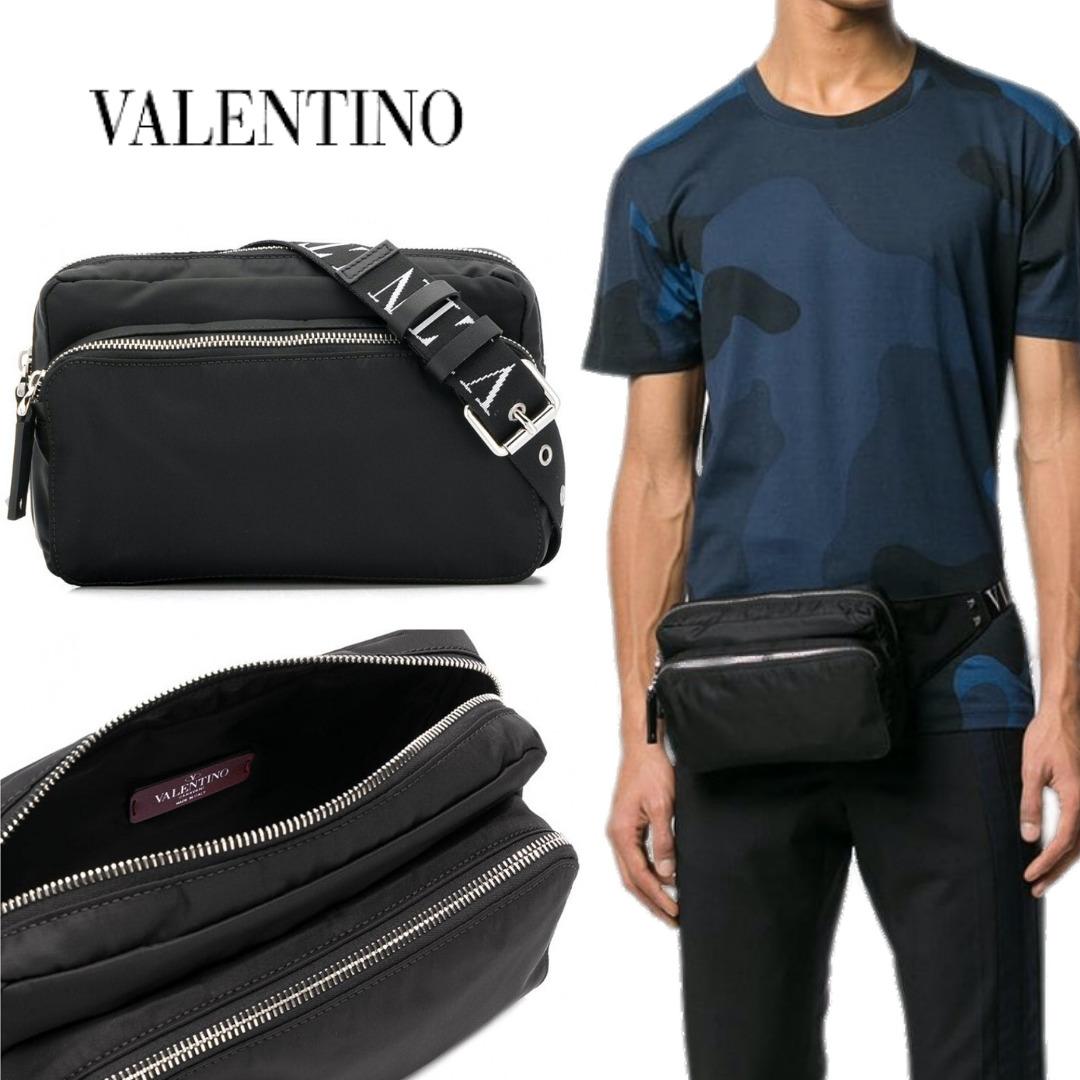 VALENTINO ヴァレンティノ VLTN ロゴ ウェストポーチ ボディーバッグ BLACK