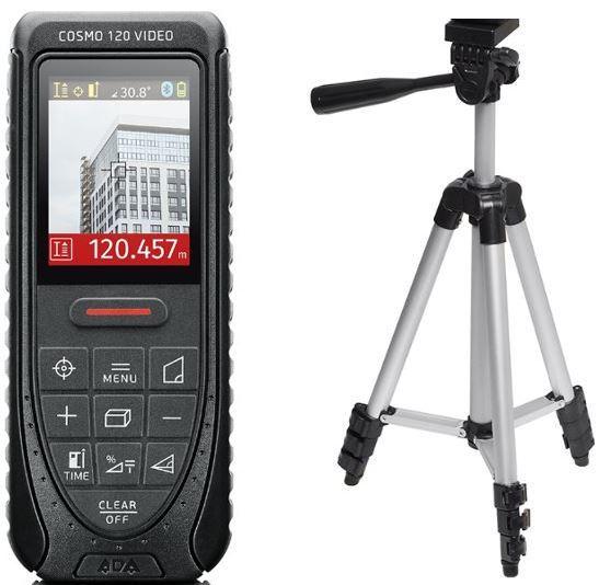 レーザ―距離計 COSMO120(エレベーター三脚付き) デジタルカメラ 角度センサー/カラーファインダー/自動ピント調整/スコープ/距離測定器 /測量/大工/内装/高精度 面積/体積 ピタゴラス 最大/最小 屋外/等間隔測定/台形測定/送料無料