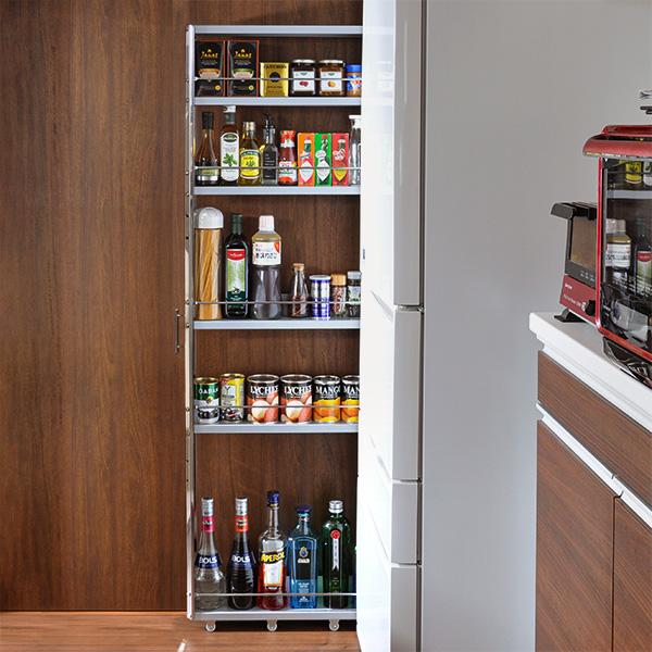 幅なんと10cm あきらめていた隙間が便利な収納スペースに 高級感のあるステンレスパネルでキッチンをおしゃれに演出 新生活 ステンレスすき間収納ワゴン ロータイプ 高さ84cm アウトレット☆送料無料 幅10cm