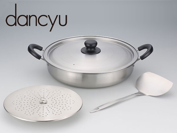 dancyu / ダンチュウ 道具厳選 ステンレス煮魚鍋 (DA-22) 目皿・ターナー付(1048947)<30cm>【 アドキッチン 】