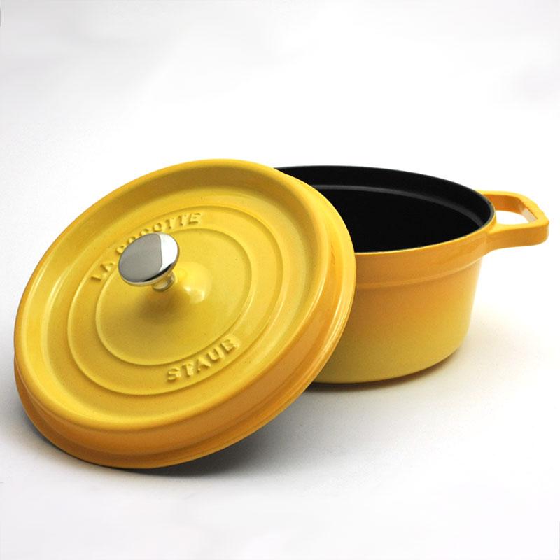 Staub/스토브/스트우브피코・코콧트라운드 24 cm(1102442)<레몬 옐로우>
