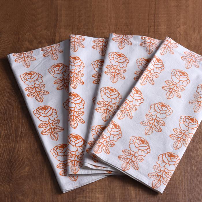 マリメッコ カットクロス4枚セット ヴィキルース オレンジ ビンテージ vintage ヴィンテージ marimekko VIHKIRUUSU