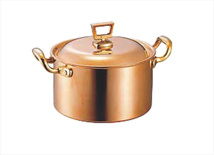【エントリーでP5倍★3/21 20:00~3/28 1:59】銅両手鍋 深型 蓋付 18cm