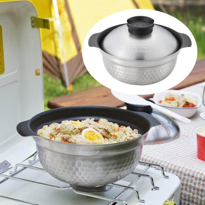 ヨシカワ IHフッ素加工 煮炊き鍋 19cm ご飯鍋 両手鍋