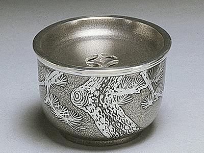 [ 送料無料 ] 大阪錫器 建水 イブシ 椀形 [ 桐箱入り ]