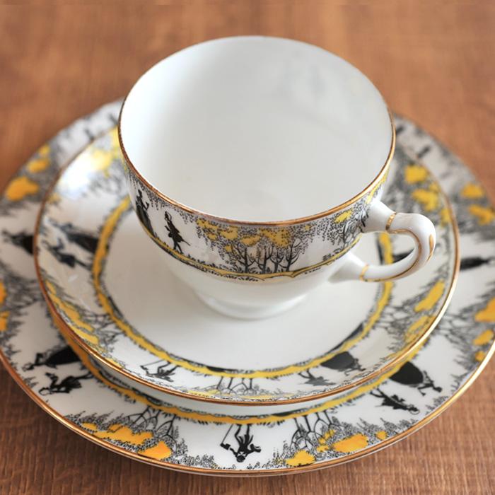 [ アンティーク ] パラゴン シルエット柄のトリオ カップ&ソーサー&ケーキプレート 《ビンテージ vintage ヴィンテージ イギリス PARAGON》