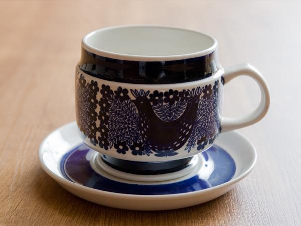 アラビア arabia Sinilintu 青い鳥 モーニングカップ&ソーサー 《ビンテージ vintage ヴィンテージ》