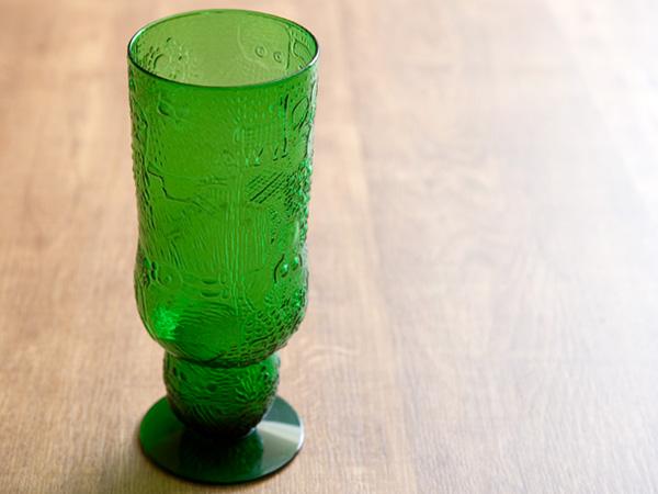 Arabia アラビア Nuutajarvi ヌータヤルヴィ Fauna ファウナ ゴブレット 【ビアグラス ベース】 ビンテージ vintage ヴィンテージ グリーン