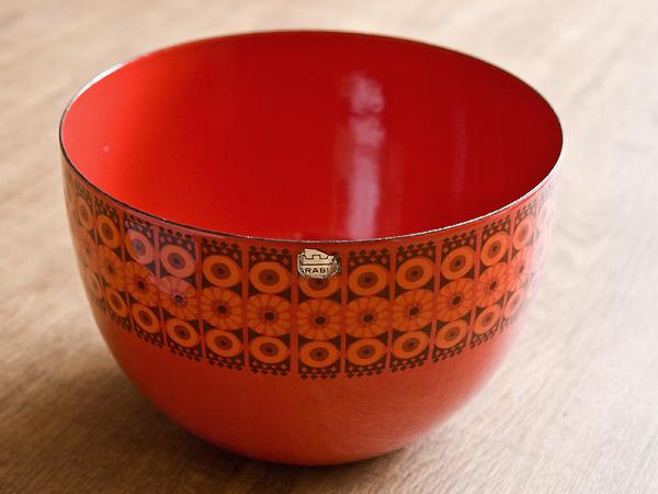 Arabia アラビア FINEL フィネル Esteri Tomula エステリ トムラ ホーローボウル21cm ビンテージ vintage ヴィンテージ 赤い花柄
