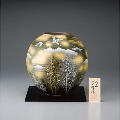 九谷焼 金彩木立連山ニ鶴 9号花瓶(131077)【日本製】