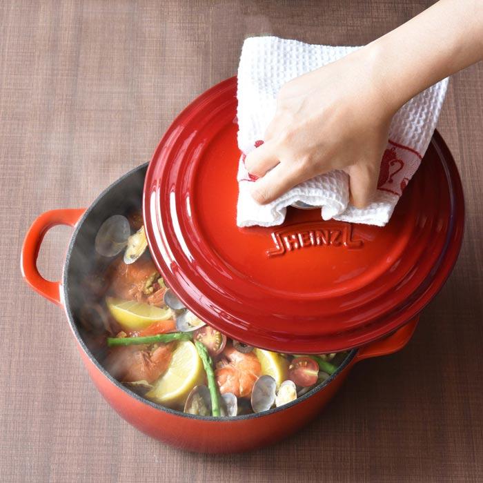 ハインツ 鋳物ホーローウエアシリーズ ラウンドココット 22cm 鋳物 両手鍋 HEINZ 琺瑯 ホーロー鍋 【送料無料】