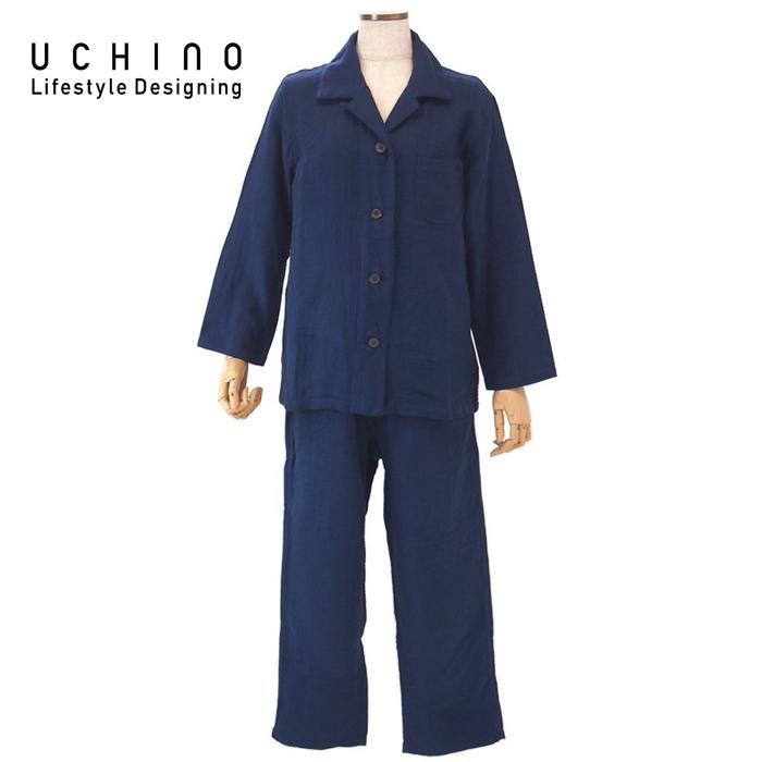 ウチノ マシュマロ ガーゼ レディスパジャマ Sサイズ ダークブルーRP15682S DB 【 内野 uchino ねまき 】