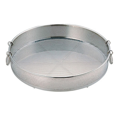 UK 18-8 パンチング 手付蒸しザル (穴径φ2.2mm) 50cm<50cm>【 アドキッチン 】