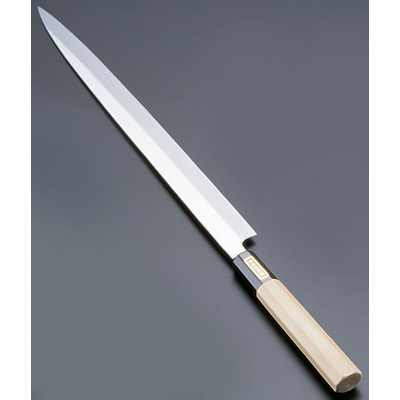 SA 佐文 本焼 鏡面仕上 蛸引 (木製サヤ付)(片刃) 33cm<33cm>