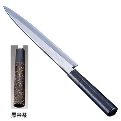 歌舞伎調和庖丁 忠舟 柳刃 30cm 黒金茶<黒金茶>