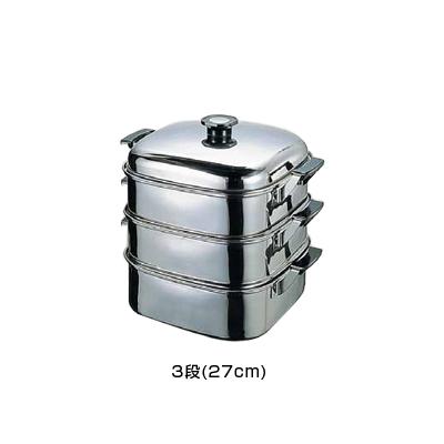 (T)18-8 角型蒸器 27cm 3段 <27cm 3段>【 アドキッチン 】